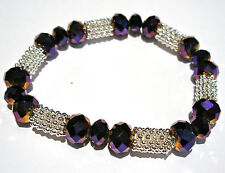 PURPLE RAINBOW FACETED CRYSTAL GLASS SILVER PLATED STRETCH BEADED BRACELET BNWOT