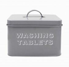 NEW VINTAGE STYLE GREY WASHING TABLETS TABLETS TIN METAL CONTAINER STORAGE