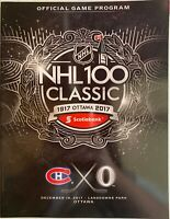 2017 NHL 100 CLASSIC MONTREAL CANADIENS OTTAWA SENATORS PROGRAM