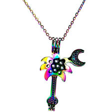 C450 Guitar Beads Cage Pendant Stainless Necklace - Rainbow Chain