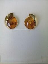 Orecchini donna oro18kt giallo, Ambra Baltica cognac Earrings Gold
