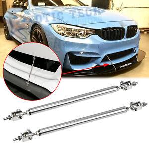 Silver Front Bumper Lip Splitter Strut Rod Support Bars For BMW F30 F31 E90 E91