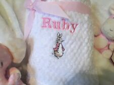 PERSONALISED BABY BLANKET BEATRIX POTTER PETER RABBIT in pink
