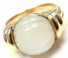 Rare! Authentic Boucheron 18k Yellow Gold Mother Of Pearl Ring