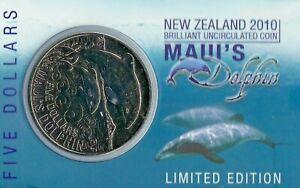 New Zealand - 2010 - Uncirculated 5 Dollars Coin- MAUI DOLPHIN!!