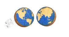 Green Tree Jewelry Globe Blue Earth Planet  Wooden Laser Cut Earrings #3004