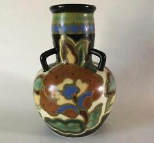 "Art Deco Japan GOUDA 3 handled VASE 1930s Japanese Art Pottery Porcelain 7.5"""