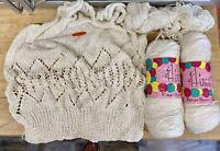 Knitting Yarn-300g Hilaturas Presencia-Cotton-Rayon-IVORY-1985-SPAIN-Vintage-X11