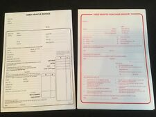 USED CAR VEHICLE SALES INVOICE PAD AND PURCHASE PAD FOR BUYING & SELLING CAR VAN