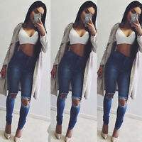 Women Stretch Ripped High Waisted Denim Pants Distressed Jeans Jeggings Trousers