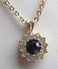 Ancien collier pendentif plaqué or saphir cristaux diamant bijou vintage 5190