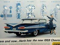 "1959 Chevrolet Impala 4 Door Hertz Original Print Ad 8.5 x 11"""