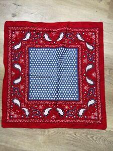 "Vtg Western Style Bandana Sarf Hankie Red with Blue Stars  20"" x 20"" July 4th"
