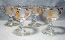 "Vtg Libbey Rock Sharpe ""Golden Foliage"" Set of 4 Champagne/Tall Sherbet~4-1/4"" T"