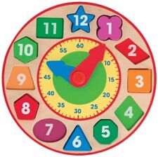 Melissa & Doug 18593 Shape Sorting Clock - Wooden Educational Toy - Multicolor