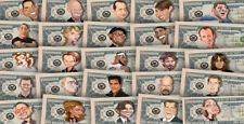 Set of 25 Celebrity Caricature Million Dollar Tract Funny Money Notes + SLEEVES