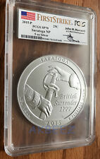 2015-P Saratoga Five 5 Oz Silver America Beautiful PCGS SP70 FS Mercanti Label