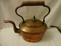 ANTIQUE GEORGIAN COPPER KETTLE WITH DOVETAIL JOINTS & SWAN NECK HEIGHT 25 X 26cm