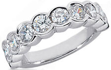 2.01 ct 10 Round Diamond Half Bezel set Band Anniversary Ring 0.20 ct each