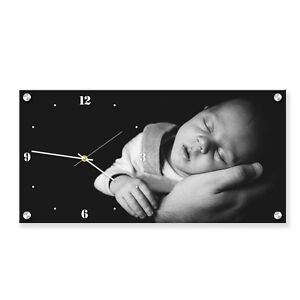 Personalized acrylic rectangle wall picture with built-in clock. Photo gift