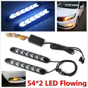 1 Pair Car White/Amber 108LED Switchback Flowing Light Strip Arrow Flasher Lamps