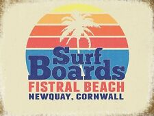 Surf Boards, Seaside Fistral Beach Newquay Cornwall Retro Large Metal/Tin Sign