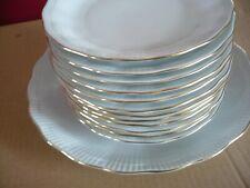 service à dessert, gateaux 12 assiettes + 1 plat blanc filet or porcelaine walbr
