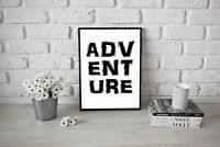 Adventure Wall Quote Poster Art Inspirational Adventure A3 Or A4 Travel Saying