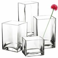 Pasabahce Square Rectangle Glass Flower Vase Gift Box Centerpiece Wedding NEW