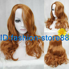 New Lady Sexy Long wavy curly Orange Party Hair Wigs + wig free cap