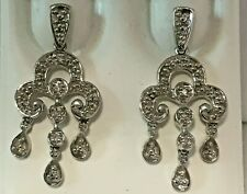 10K White Gold 10 Single Cut Diamond Chandelier Dangle Earrings 0.10 Ctw.