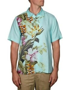 Tommy Bahama Size S Kahuna Cascade Blue Swell Hawaiian Linen Shirt