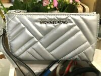 Michael Kors Peyton L Double Zip Phone Moon Wallet Wristlet Sterling Silver $228