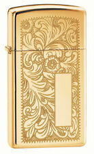 Zippo 1652B, Venetian, Slim Size, Design Front & Back, High Polish Brass Lighter