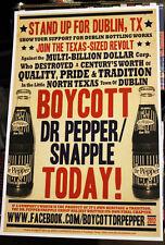 Dublin Dr Pepper orig 2012 Boycott DP poster RARE! bottle Bottled Up documentary