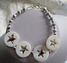 """Star Centre Shell Disk, Silver Plated Spacer Bead & Stone Chip 7.5"""" Bracelet"""