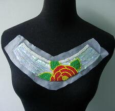 Nk192 Multicolor Floral Flower Collar Neckline Sequins Beaded Applique Motif