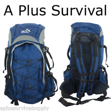 "23.5"" Blue Hiking Survival Kit Bug Out Bag Kit Backpack Camping Hunting Emergenc"