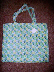 "LARGE  REUSEABLE SHOPPING TOTE BOOK BAG FLOWER PRINT NEW 17"" X 15"""