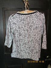 WESTBOUND PETITE SMALL Black & White Boat Neck, 3/4Sleeve CottonTop ShirtBlouse