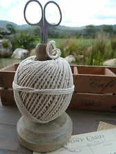 Vintage Style Household Kitchen Twine String on Wooden Spool with Scissors