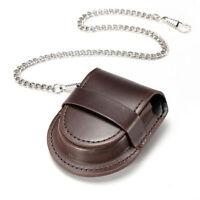 Vintage PU Leather Chain Pocket Watch Holder Storage Case Box Purse Pouch Bag