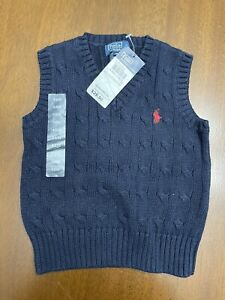 NWT Polo Ralph Lauren Solid Navy Blue Cotton Cable Knit Sweater Vest 18 M