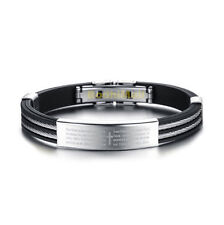 Cross Bible Silicone Stainless Steel With Silicone Bangle Bracelet