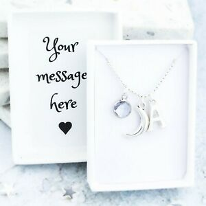 Crescent Moon Necklace, Personalised Gifts, Gifts for Her, Celestial Pendant