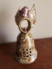 Porcelain Angel Merry Christmas Bell Dove Heart Brown China