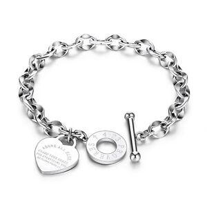 Women Charm Stainless Steel Heart Bracelet Silver Gold Girl Link Chain Bangle