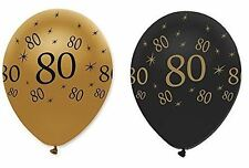 "Black Gold Pack of 6 12"" Birthday Age 80 Latex Balloons 80th Party Decoration"