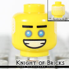 Lego Minifigure Head YELLOW Male Black Straight Eyebrows White Hair on Back