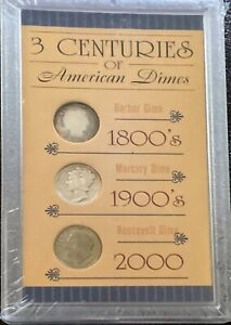 Three Centuries of American Dimes Set Of 3 Factory Sealed 1800's 1900's 2000's